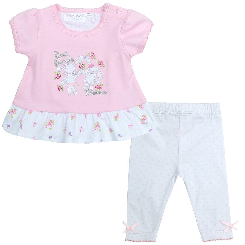 Baby Town Ditsy Bunny Top and Leggings | Millie and John