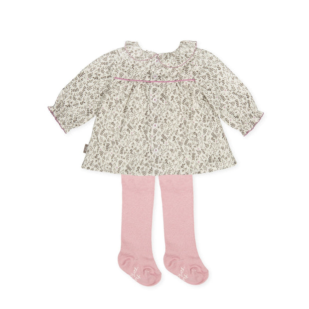 Tutto Piccolo Ditsy Leaf Print Dress & Tights | Millie and John