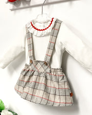 "Calamaro ""Donati"" Beige Check Dungaree Skirt Set 