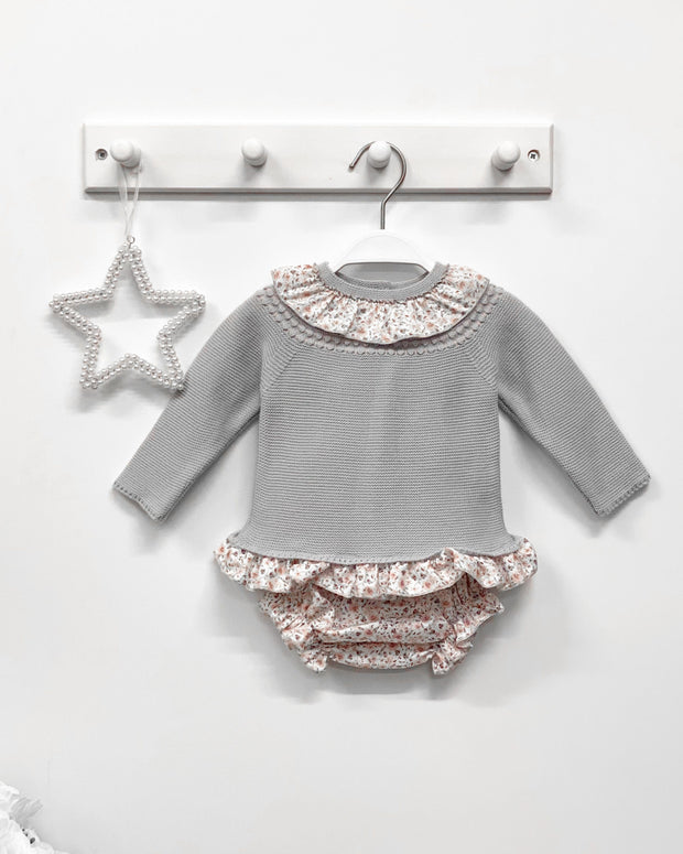 Granlei Dove Grey Knit Top with Pink Vintage Floral Bloomers | Millie and John