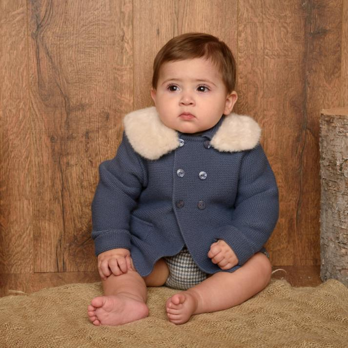 Granlei Dusky Blue Jacket with Faux Fur Collar | Millie and John