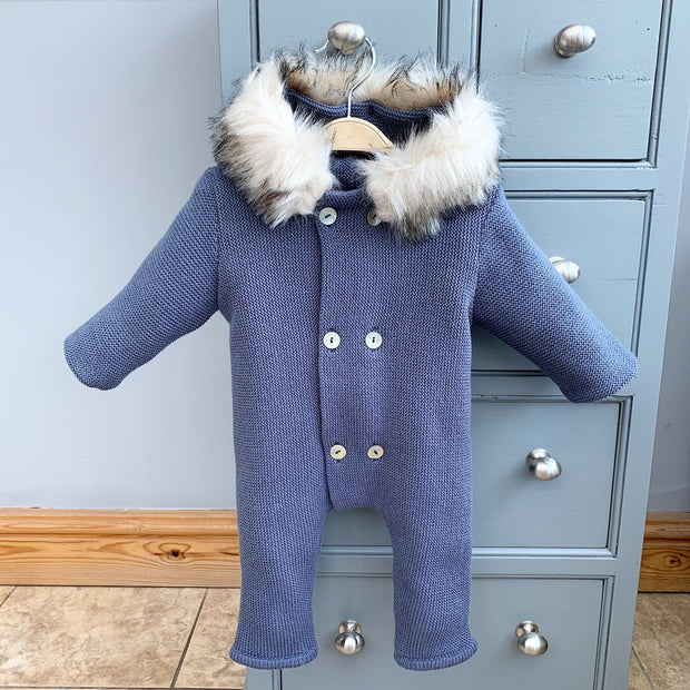 Mebi Dusky Blue Knitted Footless Pramsuit with Faux Fur Trim | Millie and John