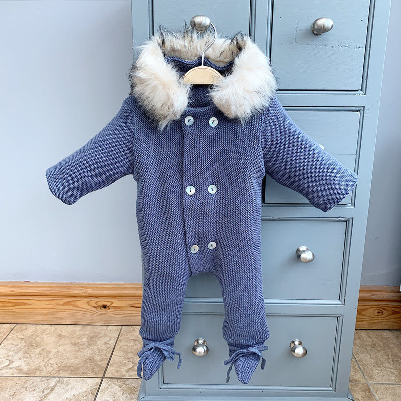 Mebi Dusky Blue Knitted Pramsuit with Faux Fur Trim | Millie and John
