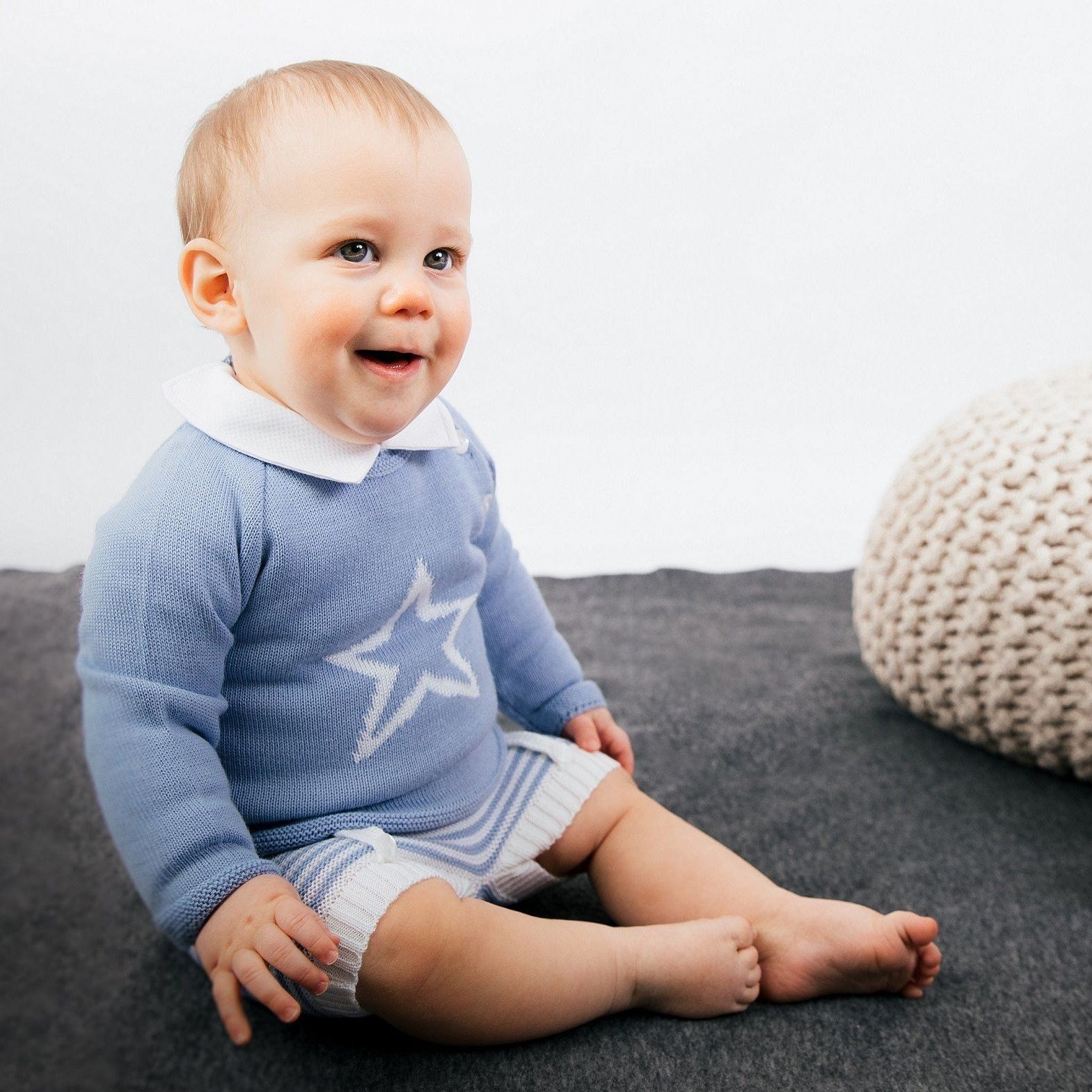 Dandelion Dusky Blue Knitted Star Top & Shorts | Millie and John