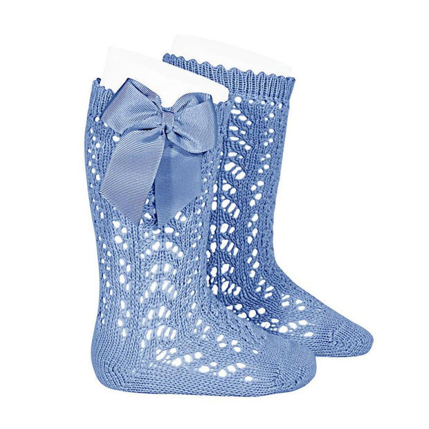 Condor Dusky Blue Lace Openwork Bow Socks | Millie and John
