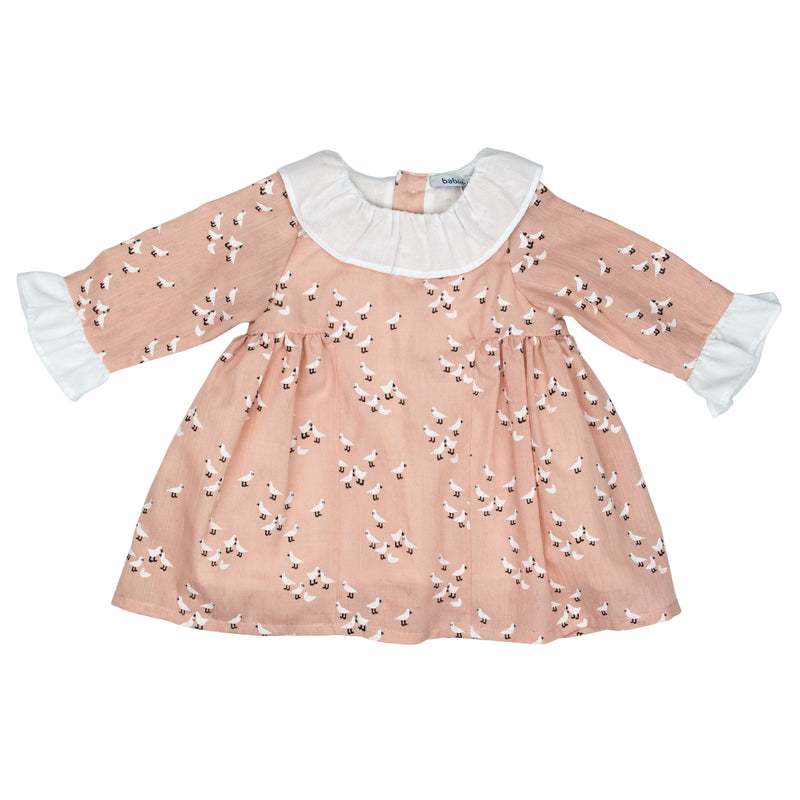 Babidu Dusky Peach Bird Print Dress | Millie and John