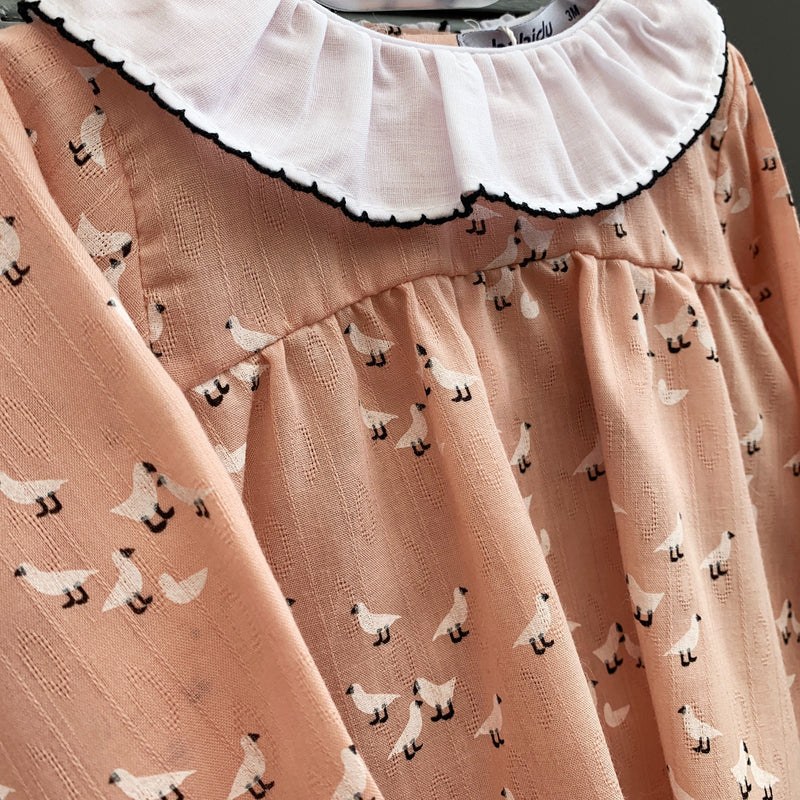 Babidu Dusky Peach Bird Print Dress & Knickers | Millie and John