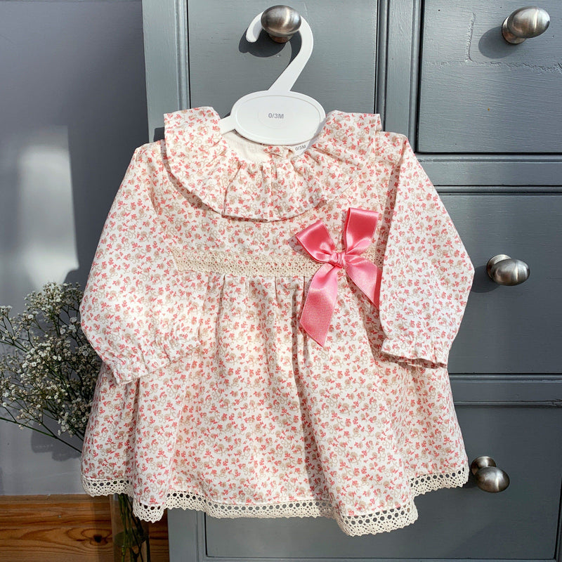 Little Nosh Dusky Peach Floral Dress & Knickers | Millie and John
