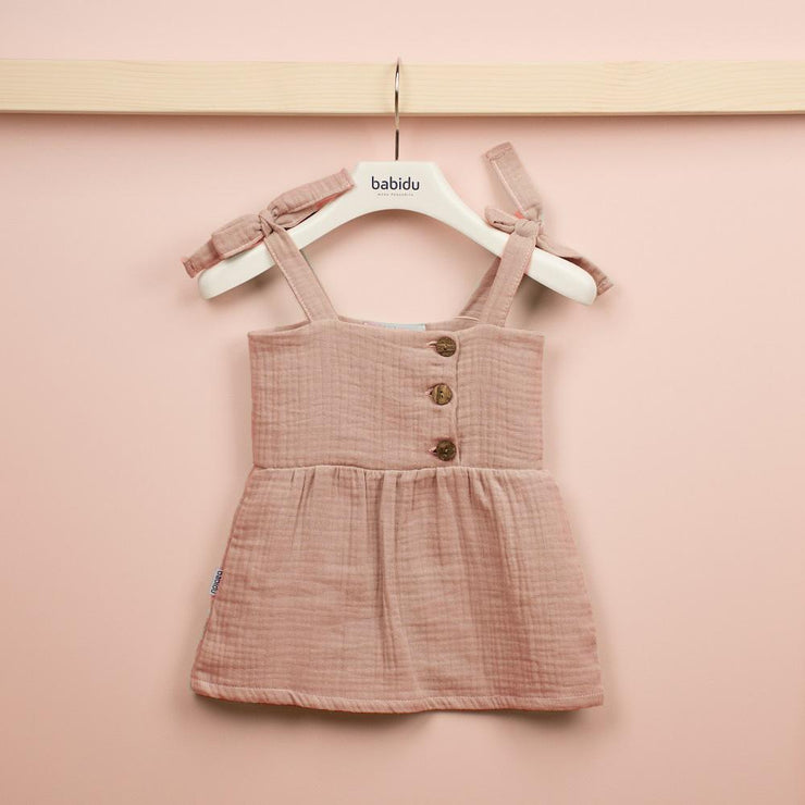 Babidu Dusky Pink Cheesecloth Sundress | Millie and John