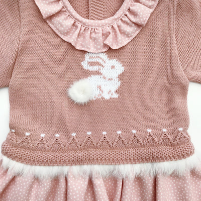 Mac Ilusion Dusky Pink Faux Fur Bunny Dress | Millie and John