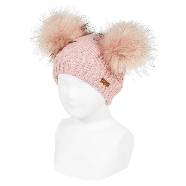 Condor Dusky Pink Faux Fur Double Pom Pom Hat | Millie and John