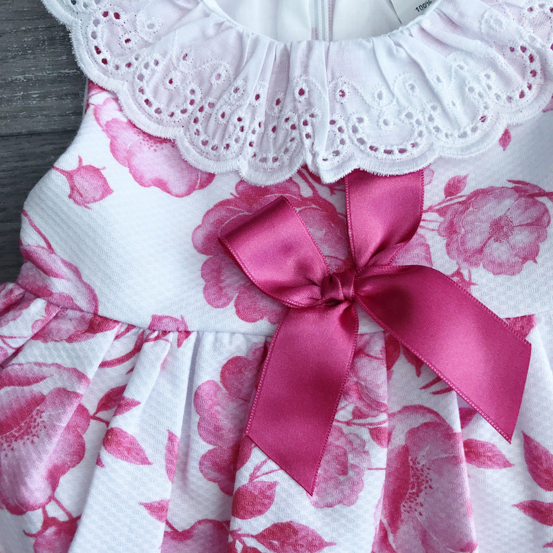 Little Nosh Dusky Pink Floral Bow Dress | Millie and John