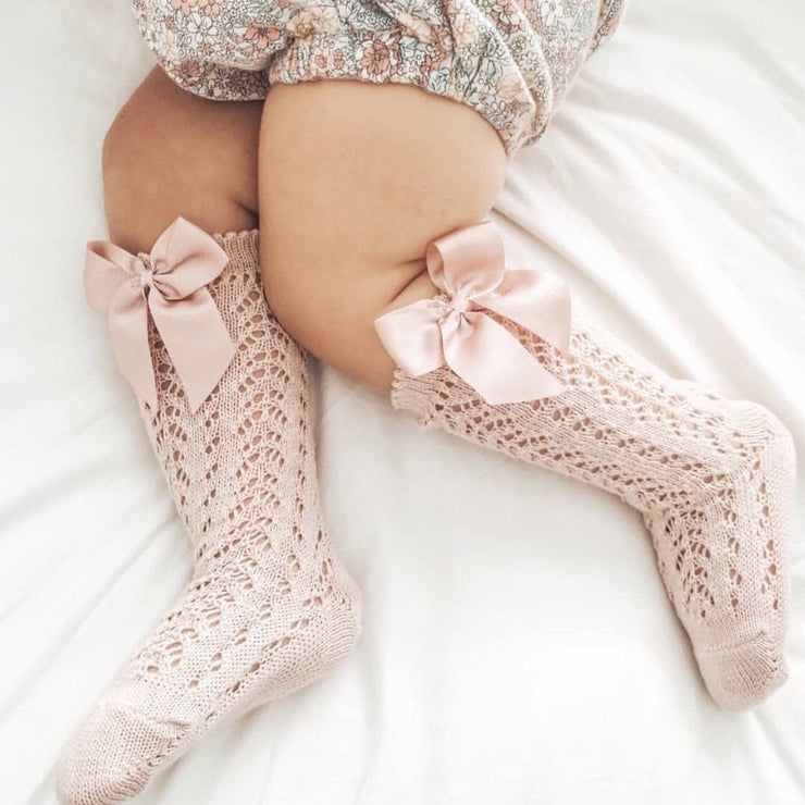 Condor Dusky Pink Lace Openwork Bow Socks | Millie and John