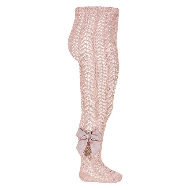 Condor Dusky Pink Lace Openwork Bow Tights | Millie and John
