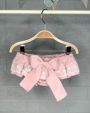 Phi Dusky Pink Lace Velvet Bloomers | Millie and John