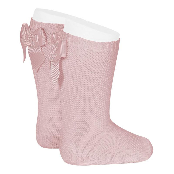 Condor Dusky Pink Moss Stitch Knee High Bow Socks | Millie and John