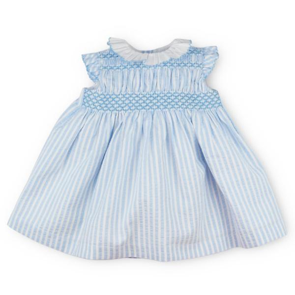 "Sardon ""Esther"" Blue Striped Smocked Dress 