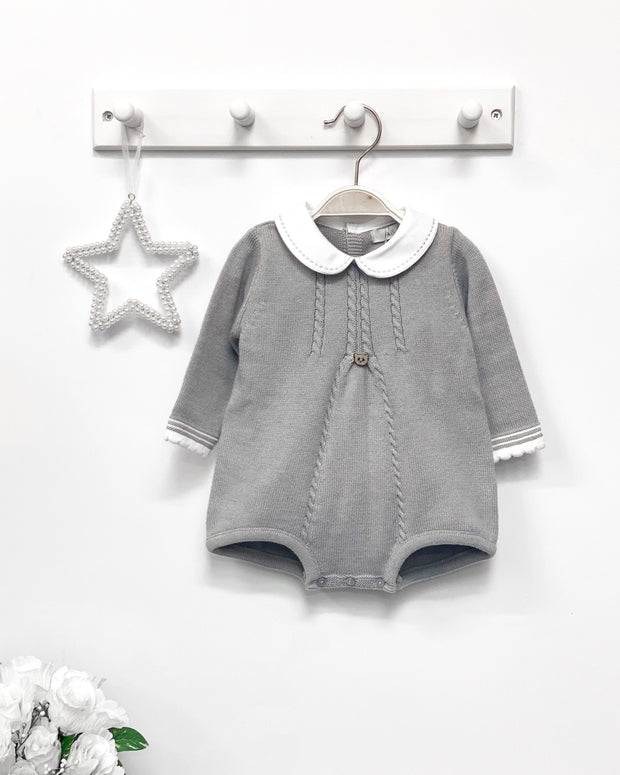 "A&J ""Ethan"" Grey Knitted Romper 
