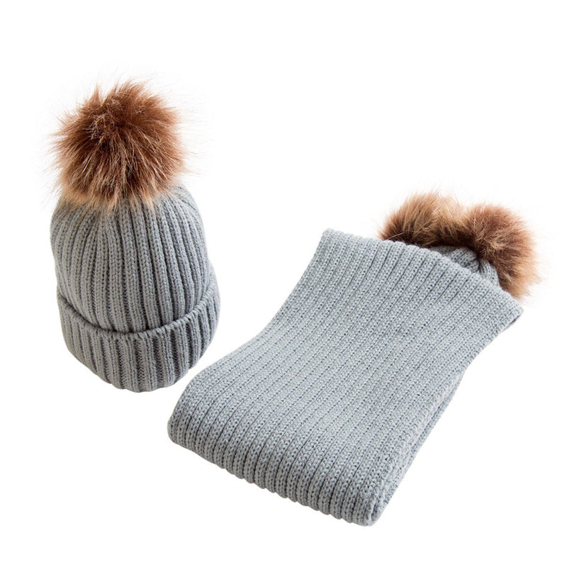 Millie and John Faux Fur Pom Pom Hat and Scarf Set | Millie and John
