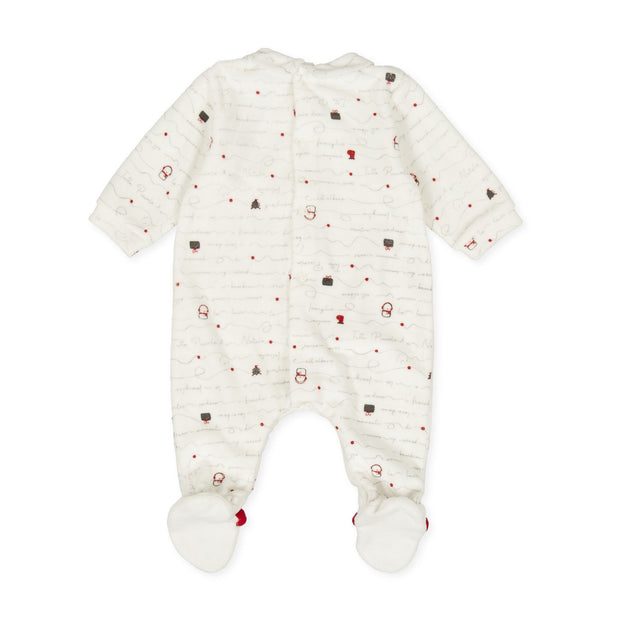 Tutto Piccolo Festive Velour Sleepsuit | Millie and John