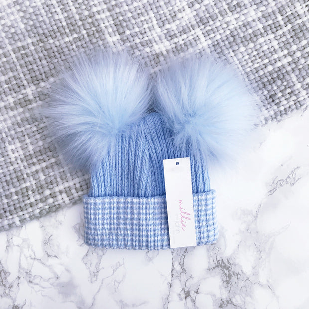Millie and John First Size Blue Striped Double Pom Pom Hat | Millie and John