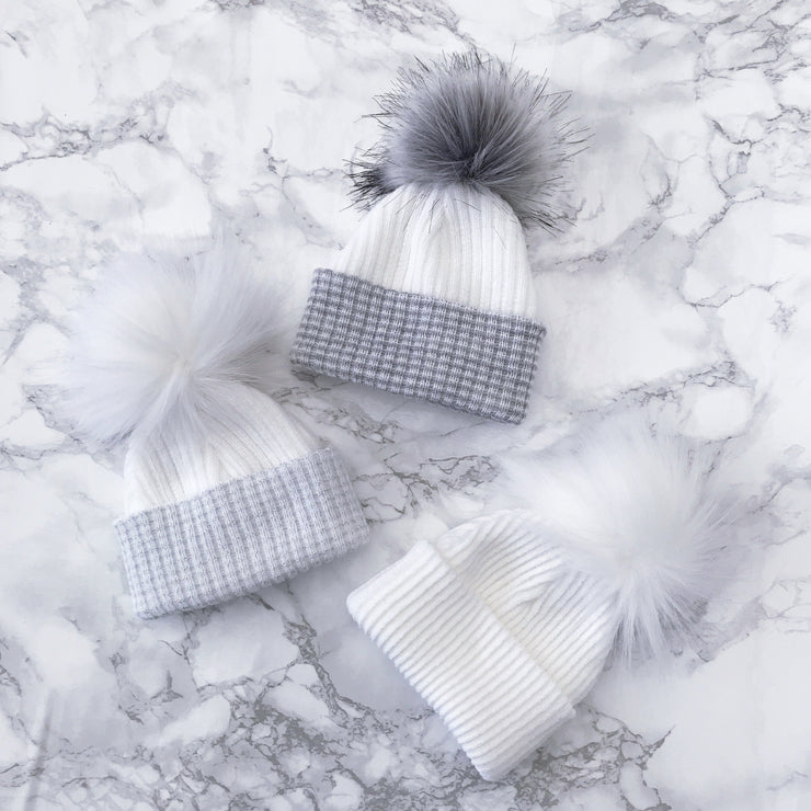 Millie and John First Size Grey & White Faux Fur Pom Pom Hat | Millie and John