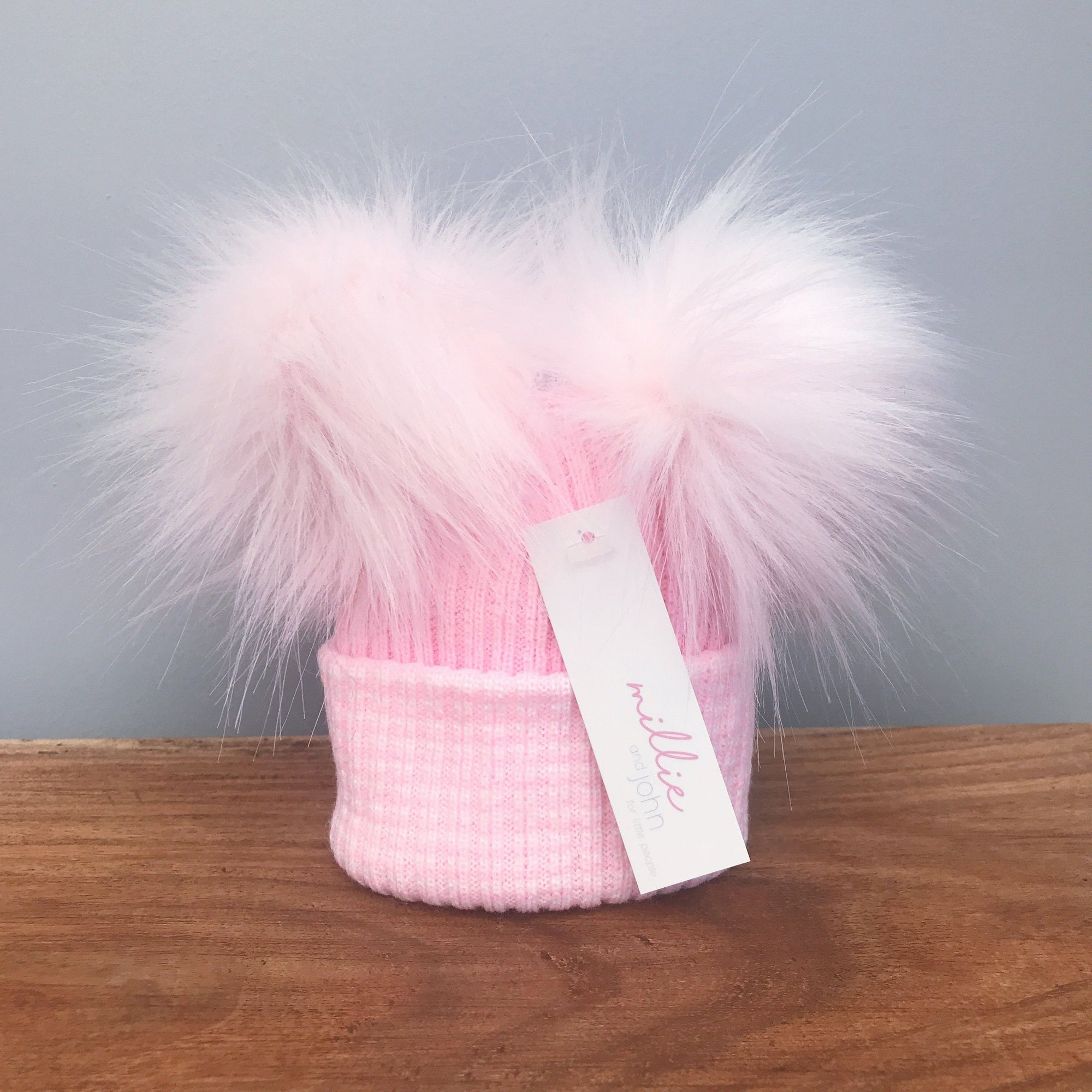 Millie and John First Size Pink Striped Double Pom Pom Hat | Millie and John