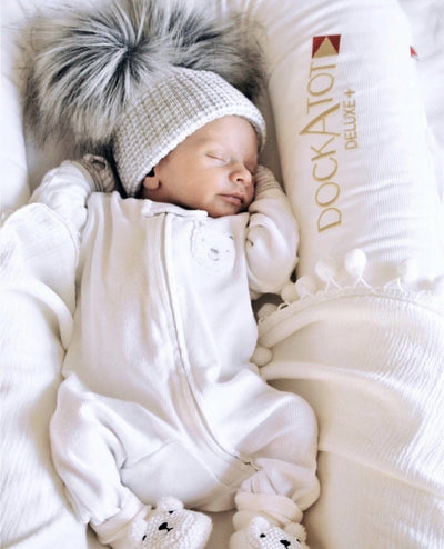 Millie and John First Size White & Grey Double Pom Pom Hat | Millie and John