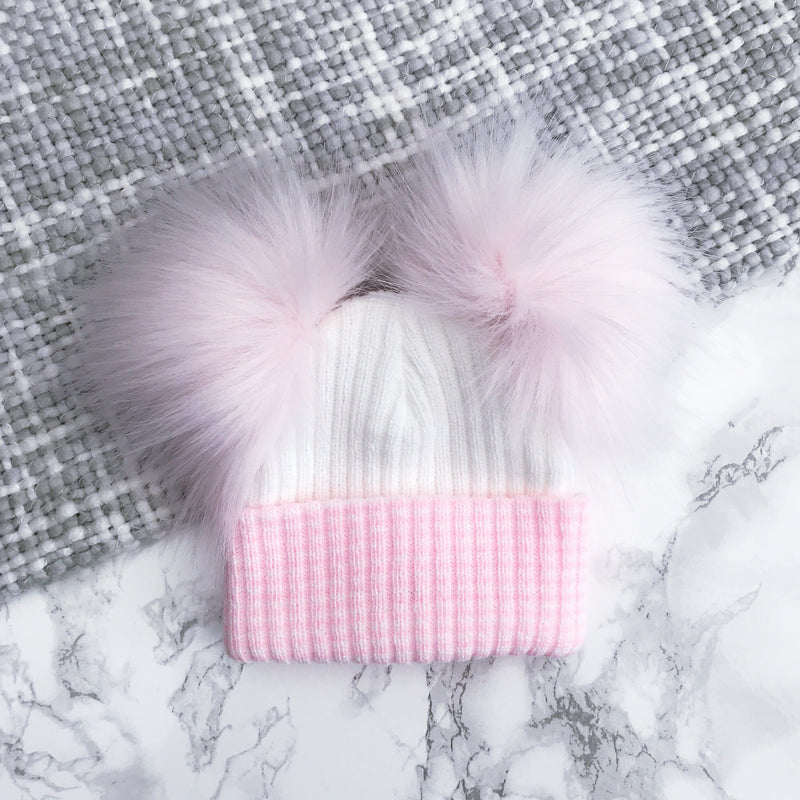 Millie and John First Size White & Pink Striped Double Pom Pom Hat | Millie and John