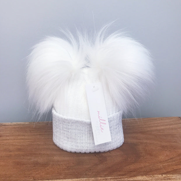 Millie and John First Size White & Silver Double Pom Pom Hat | Millie and John