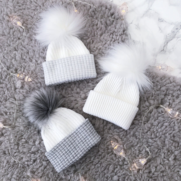 Millie and John First Size White & Silver Faux Fur Pom Pom Hat | Millie and John