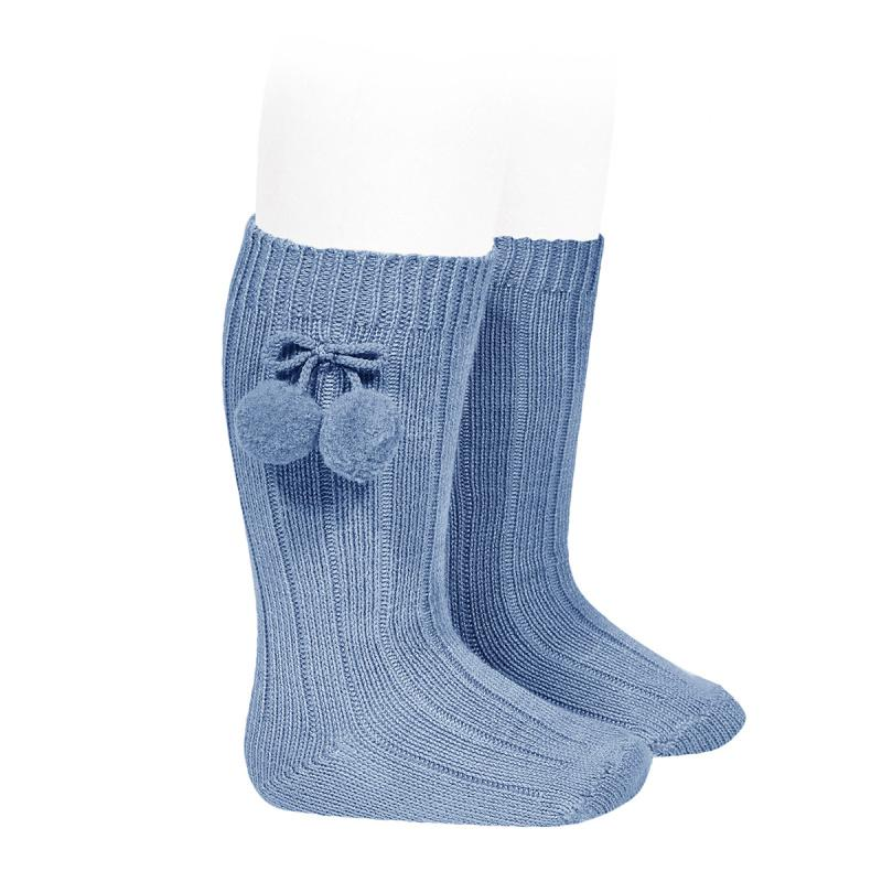 Condor French Blue Knee High Pom Pom Socks | Millie and John