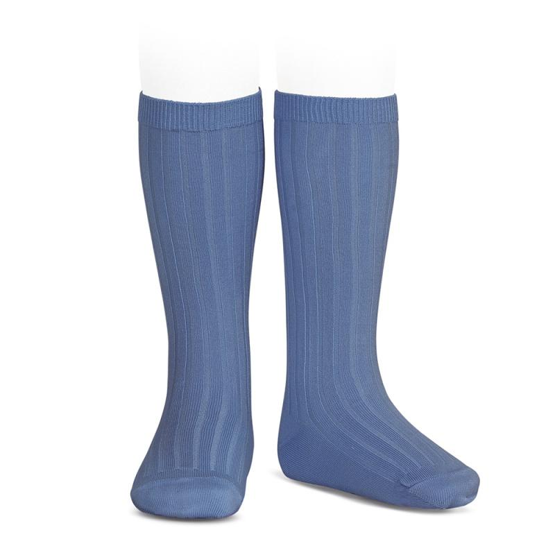 Condor French Blue Wide Ribbed Knee High Socks | Millie and John