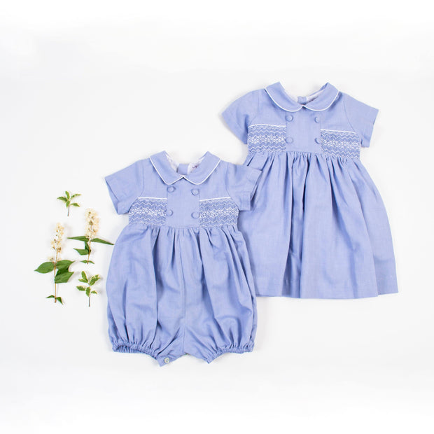 "Kidiwi ""Gabriel"" Denim Blue Smocked Romper 