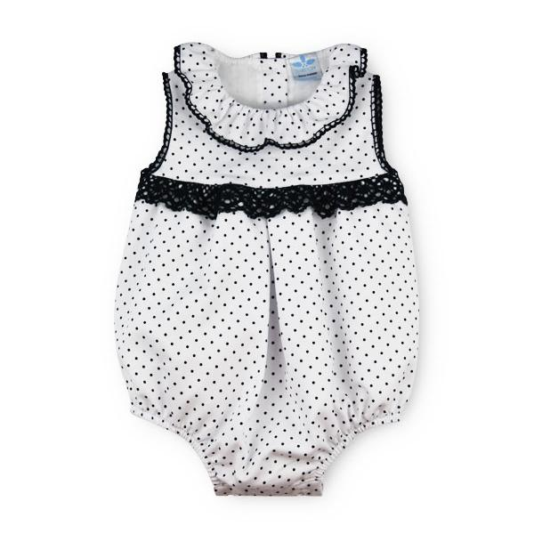 "Sardon ""Gloria"" Navy Polka Dot Lace Romper 