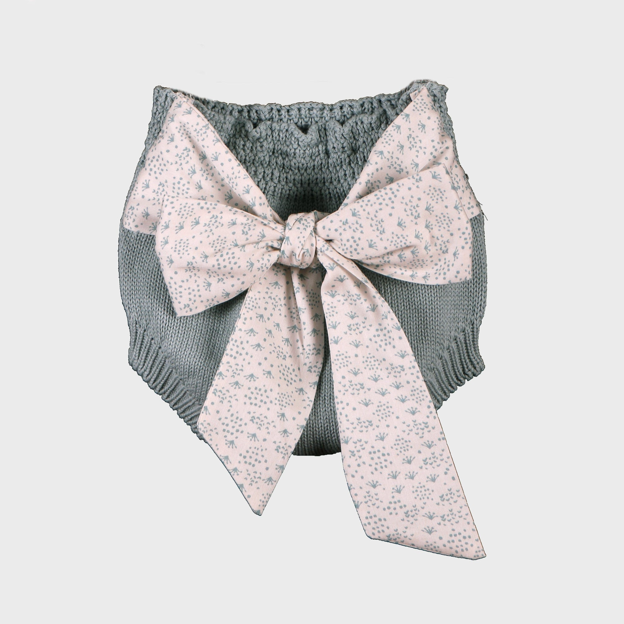 Wedoble Green Knit Bloomers with Floral Bow | Millie and John