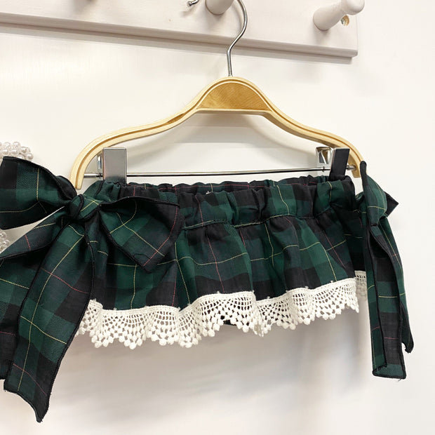 Phi Green Tartan Bow Bloomers | Millie and John
