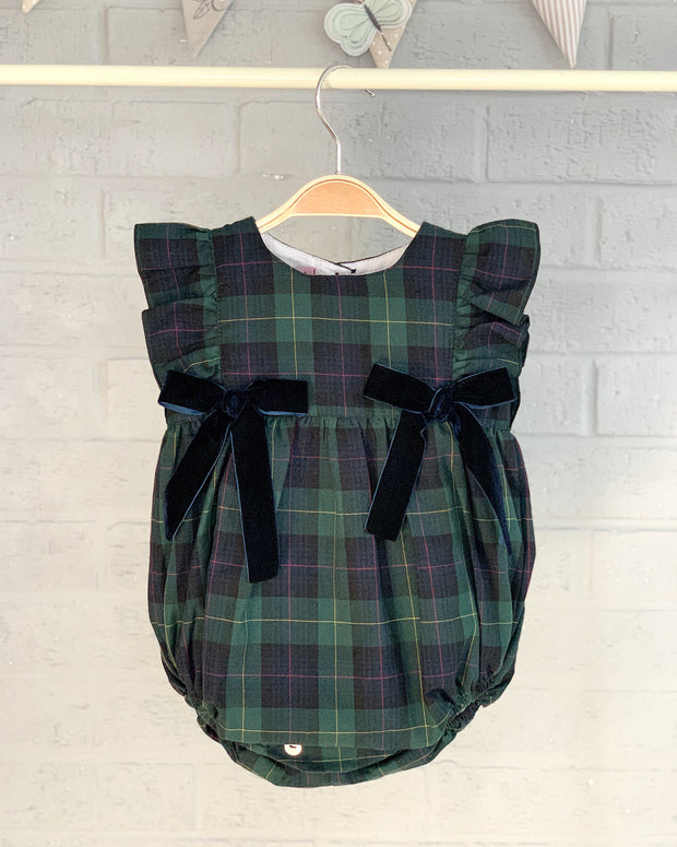 Phi Green Tartan Velvet Bow Romper | Millie and John