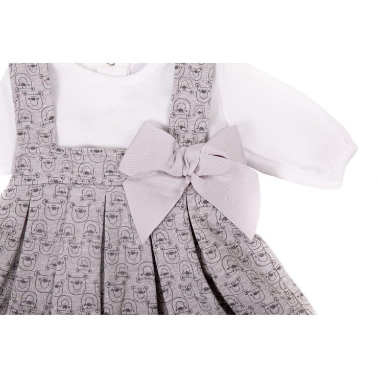 Dandelion Grey Bear Print Pinafore Dress | Millie and John