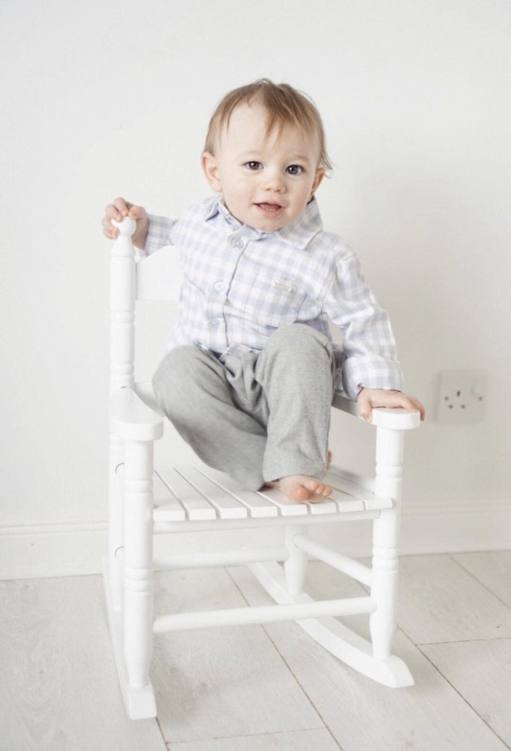 Blues Baby Grey & Blue Checked Shirt and Trousers | Millie and John