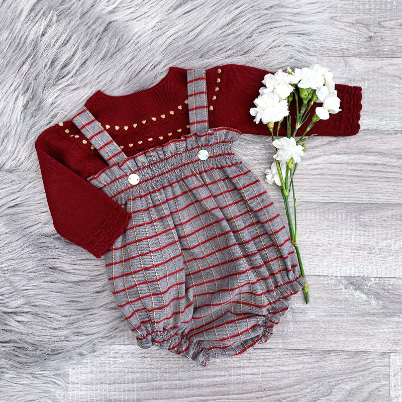 Granlei Grey & Burgundy Checked Dungaree Set | Millie and John