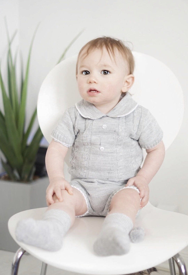 Dandelion Grey Cable Knit Polo Shirt & Shorts | Millie and John
