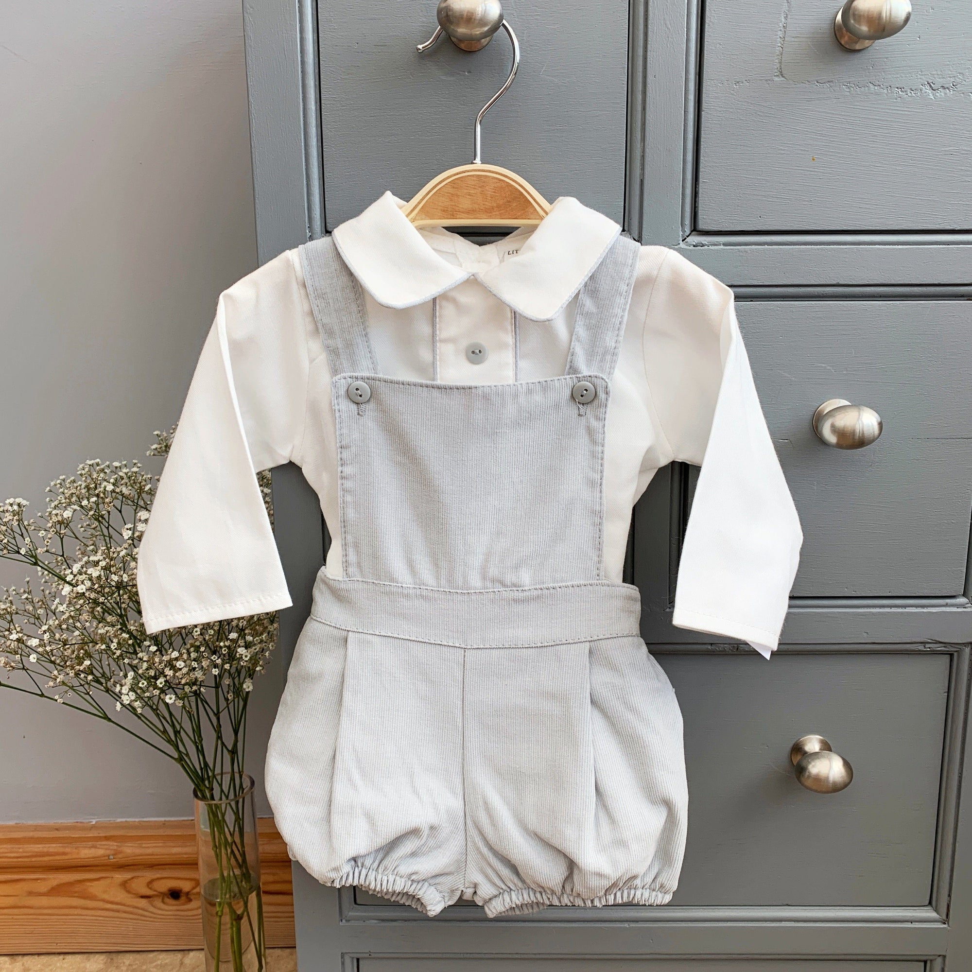 Little Nosh Grey Cord Dungaree Set | Millie and John