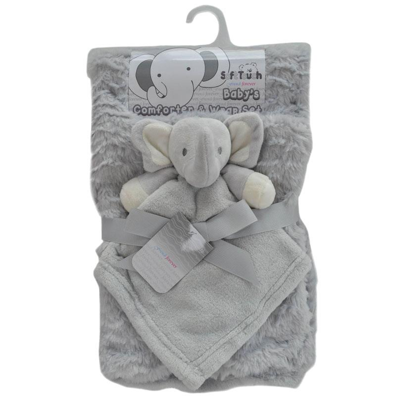Soft Touch Grey Elephant Comforter & Blanket Set | Millie and John