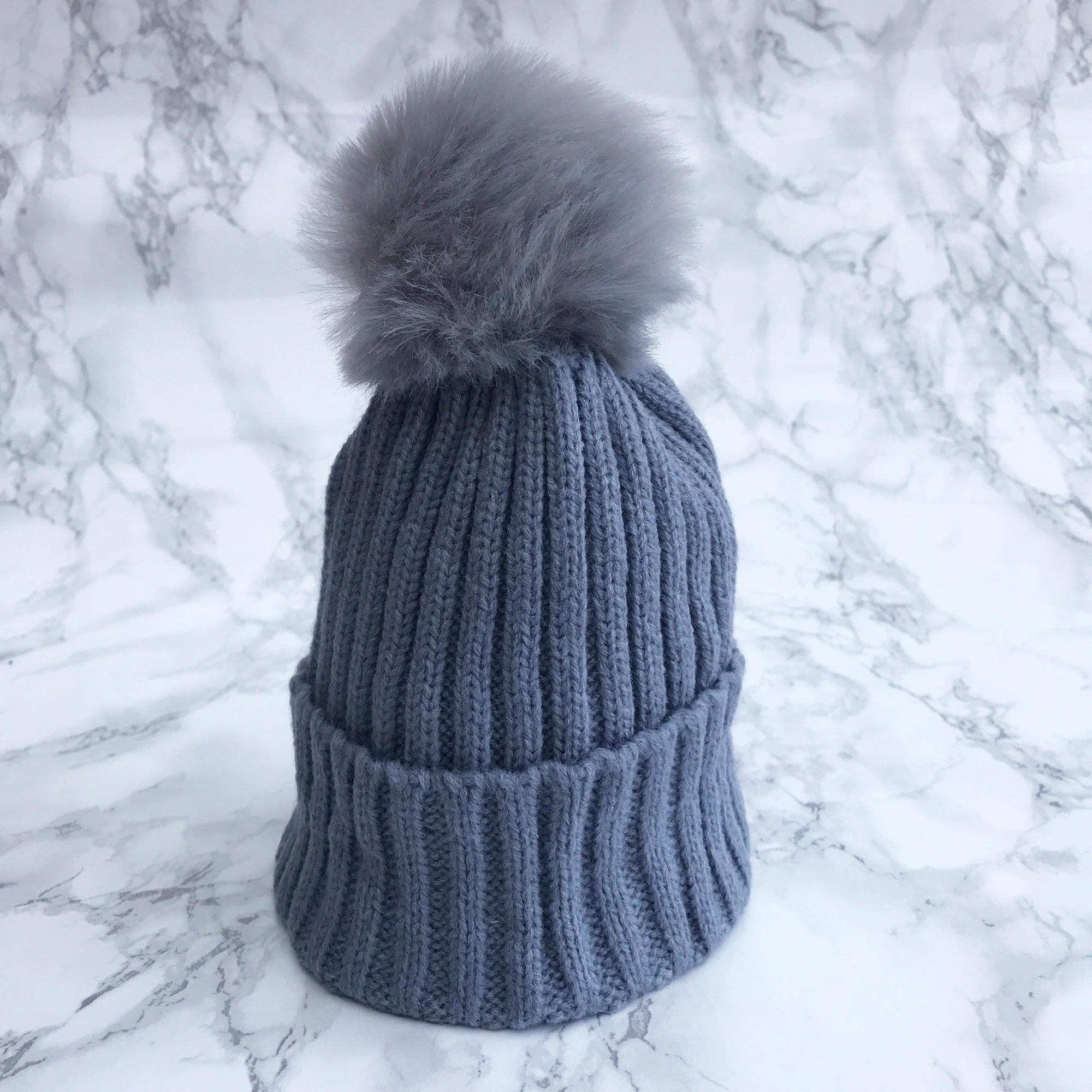 Millie and John Grey Faux Fur Pom Pom Hat | Millie and John