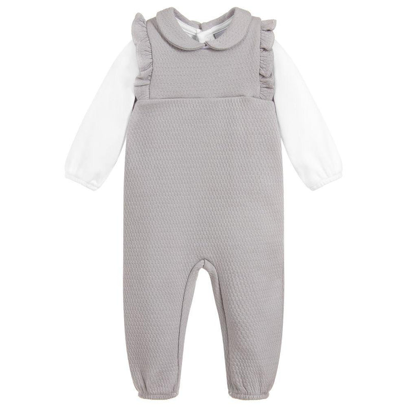 Babidu Grey Frilled Dungaree Set | Millie and John