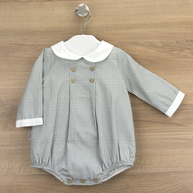 Babidu Grey Gingham Romper | Millie and John