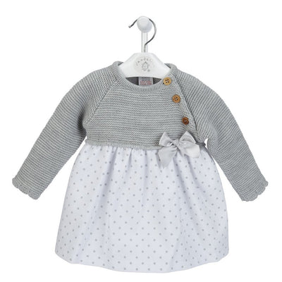 Dandelion Grey Half Knit Polka Dot Dress | Millie and John