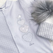Dandelion Grey Heart Sleepsuit | Millie and John