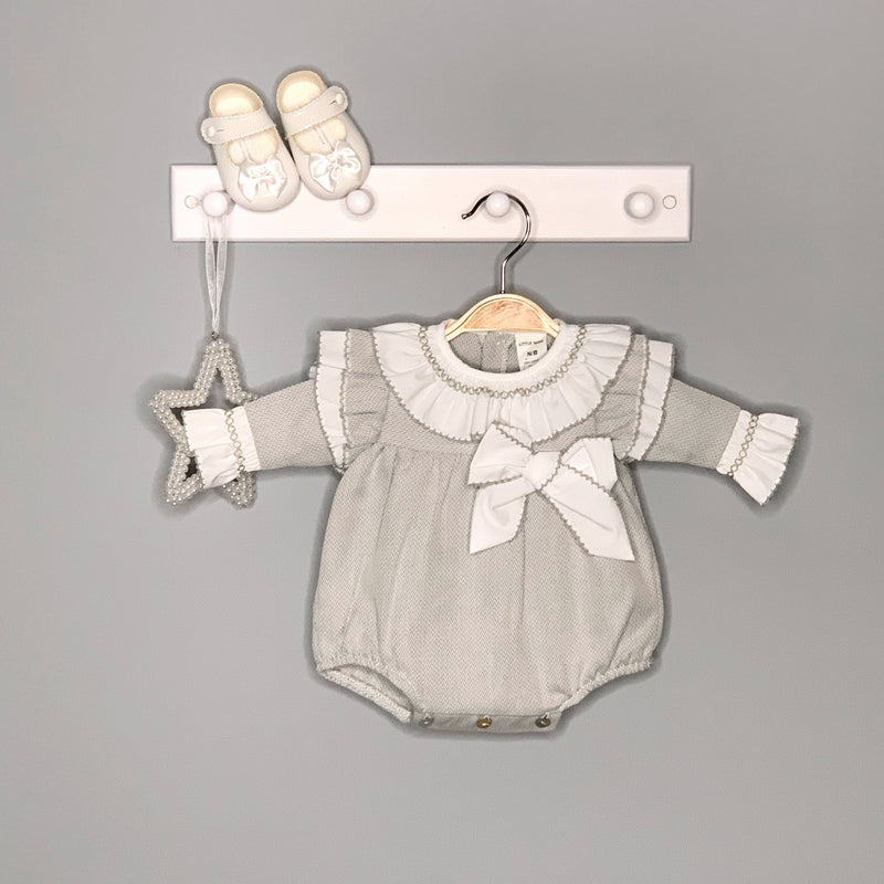 Little Nosh Grey Herringbone Romper | Millie and John